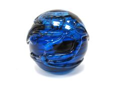 A Spherical Purple Iridescent Glass Paperweight, probably by John Ditchfield (unmarked), with