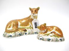A Royal Crown Derby Paperweight ' Lioness', a Signature edition of 950 for Goviers, gold stopper,