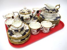 A Coalport Porcelain 'Batwing' Pattern Part Tea Service, printed and painted with floral sprays