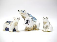 A Royal Crown Derby Paperweight 'Polar Bear', gold stopper, date code for 2005, 10cm high; A Further