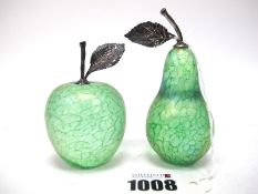 John Ditchfield for Glasform; An Apple and a Pear Green Iridescent Glass Paperweights, with