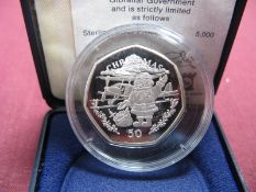 A Pobjoy Mint Gibraltar Silver Proof Christmas Fifty Pence Coin 1996 'Santa With Bi Plane',