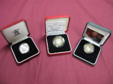 Three Royal Mint United Kingdom Silver Proof Two Pounds Coins, comprising of 1996 'Euro 96' Coin,