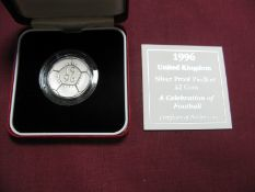 The Royal Mint 1996 UK Silver Proof Piedfort £2 Coin 'A Celebration of Football', accompanied by