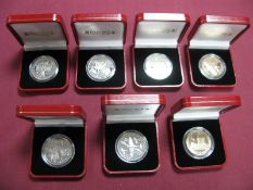 Seven Cased Isle of Man, Gibraltar Crown Sized Coins, to include IOM 1995 'Aircraft of World War
