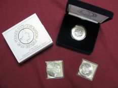 Three Silver Coins, comprising of Royal Mint 2003 Coronation Jubilee Silver Proof Five Pounds,