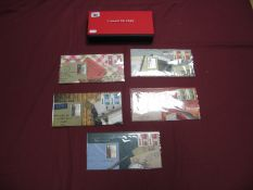 A Royal Mail/Royal Mint Pillar To Post Sterling Silver Ingot and Stamp Set, (five presentation