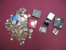 A Collection of Coins, Medallions, Badges, to include King George VI Crown 1937, Charles II Crown