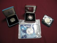 Four Coins, including Royal Mint 2003 Silver Bullion £2 Britannia, UK Silver Proof 50p Coin 2003,