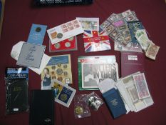 An Assorted Collection of Coins, cigarette cards, banknotes, empty coin albums, Royal Mail