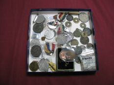 A Collection of Coins, Medallions, Badges, to include Napoleon III One Centime 1855, Jetton (