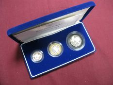 The Royal Mint 2004 Silver Proof Piedfort Three Coin Collection, comprising of Silver Piedfort One