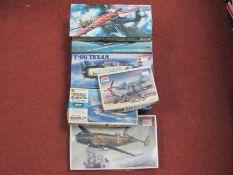 Six 1:72nd Scale Plastic Model Military Aircraft Kits, by Hasegawa, Academy all WWII era aircraft