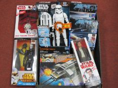 A Quantity of Modern Star Wars Plastic Model Action figures and Space Vehicles, predominantly by