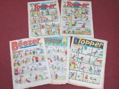 Sixteen U.K. Broad Sheet Comics 1967-1972, to include The Beezer, The Topper, folds, tears and