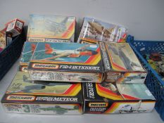 Eight Matchbox 1:72nd Scale Plastic Model Military Aircraft Kits, all jets including Phantom FG1/