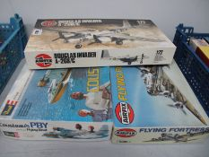 Three 1:72nd Scale Plastic Model Aircraft Kits, to include Airfix Flying Fortress, Airfix Douglas