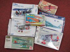 Seven Boxed 1:72nd Scale Plastic Model Military Aircraft Kits, by Hasegawa, LS, ICM, Paula Models