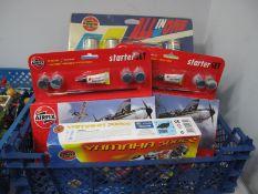 Five Airfix Plastic Kits, including 1:48th Red Arrows Hawk, 1:72 Westland Army Lynx, all boxed,