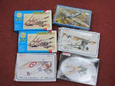 Six 1:72nd Scale Plastic Model Military Aircraft Kits by Smer, AZ models, mostly WWI era Aircraft to