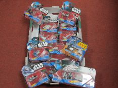 Approximately Thirteen Modern Star Wars Plastic Model Space Vehicles, by Hot Wheels, including Tie