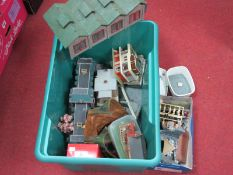 OO/HO Scale Model Railway Lineside Buildings and Accessories, all playworn.