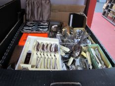 A Large Quantity of Cutlery, cased and loose including Cooper Bros:- One Box