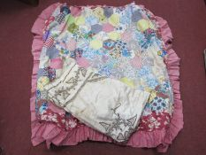 A Patchwork Quilt for a Cot, silk table cloth with symmetrical decoration in braid, approximately