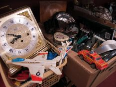 A Woodford Mantle Clock, Orvit 2138 cup holder, plated ware, books, toys etc: Two Boxes