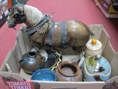 A Shire Horse, with various studio pots and plates, with a Baxters vintage marmalade pot by