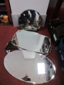 A Pair of Oval Shape Mirrors, with scalloped edges, with two other mirrors. (4)