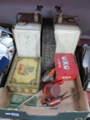 Two Valour Paraffin Cans, bearing Esso blue stickers, oil cans, tins.