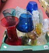 Glass Decanters, water jug, blue glass brandy glasses, vase etc:- One Box