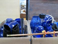 Blue Glassware, Copper coaching horn, St Andrews Whiskey bottles, etc:- Three Boxes