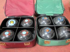 Henselite Lawn Green Bowling Bowls- two sets of four in bags