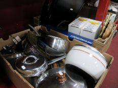 Pans, Casserole. Samsung TV with remote (untested sold for parts only), glassware etc:- Two Boxes.