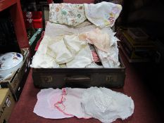 Two Padded Quilts, crochet, needlework and other materials in never done case.