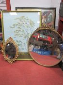 Guiness Mirror, together with two gilt metal mirrors, prints, etc (3).