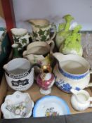 Buchanan's Black & White Whisky Water Jug, (chipped), Willow pattern woods and other examples