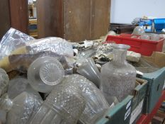 A Large Quantity of Pressed Glass Cruets, bowls, condiments, epergne, fruit bowl, etc:- Three
