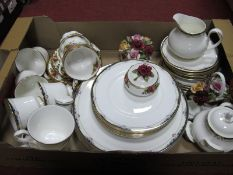 Royal Doulton 'Rhodes', Royal Albert 'Old County Roses' table ware (second quality):- One Box