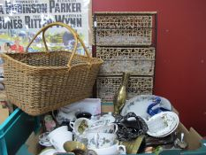 Old Foley Storage Jars, Royal Doulton part tea service, wicker basket, wicket baskets in a stand. (