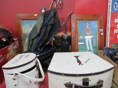 Jewellery Display, cases, Art Deco style clock, umbrellas, three pictures.