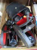 Sewills of Liverpool Barograph, Luger, Prinzlux, Halina, Chinon and Italian binoculars:- One Box