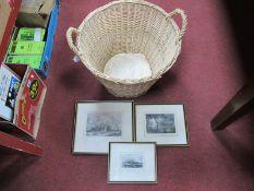 Wicker Log Basket, three Scarborough theme prints.