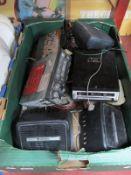 Sharp Car Radio Cassette Deck, Audioline radio cassette deck, Amerex car speakers:- One Box