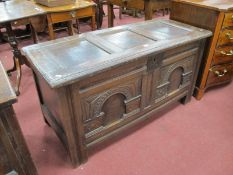 A Late XVII Century Joined Oak Coffer Box, with a three panelled top, iron lock plate, base with