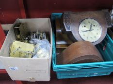Four Mantle Clocks, (faults), quantity of clock works:- Two Boxes.