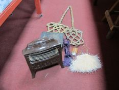 A Mid XX Century Enamel Electric Fire, two Victorian carpet beaters etc:- One Box