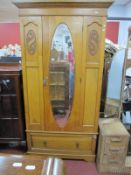 Early XX Century Light Oak Wardrobe, with a oval mirror, long drawer, plinth base, 198cm high.